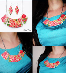 Crvena cvjetna ogrlica i naušnice