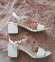 Bijele sandale/uključen Tisak
