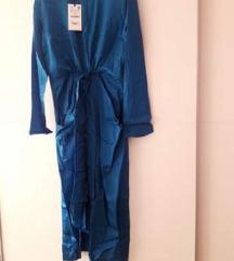 Zara satinirana plava duža haljina na vezanje M,L