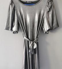 Metalik siva/srebrna haljina