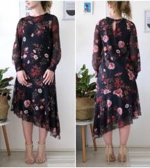 Asimetrična midi cvjetna haljina