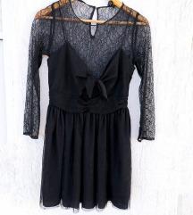 ZARA crna čipkana haljina dugih rukava / mašna