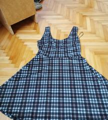 Siva karirana haljina na naramenice