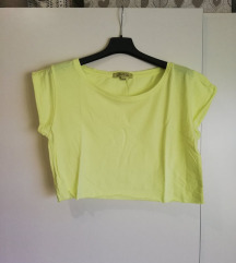 Bershka neon žuti crop top