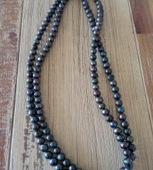 Biserna ogrlica antracit siva i duga