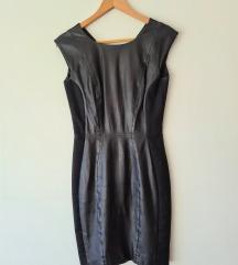 Nova H&M crna kozna haljina