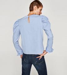 ZARA plava bluza s puff rukavima