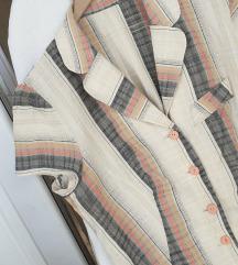 Karirana vintage ljetna košulja-haljina L