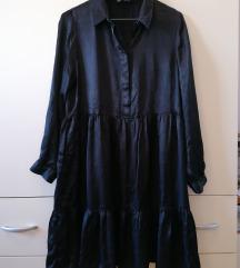 Zara crna haljina s volanima