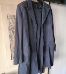 Ženski komplet sako + suknja tamno plavi