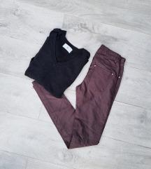LOT - bordo kožne hlače + crna majica