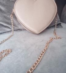 Srce torbica zlatna 🍒
