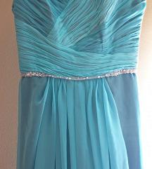 Svečana tirkizna dugačka haljina