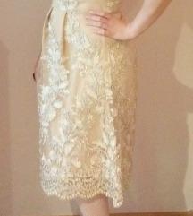 Svečana zlatno-bež haljina