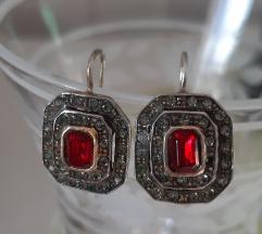 Tadej naušnice pozlata 925 srebro češki kristal