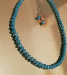 Tirkizna ogrlica od perli s naušnicama