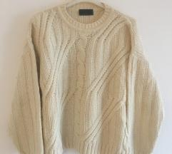Bijeli Vuneni pulover vel S-M