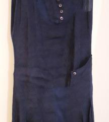 Tamnoplava lanena haljina bez rukava