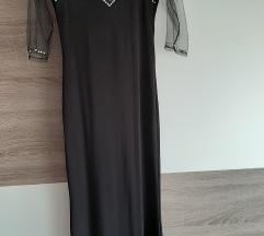 Duga crna haljina sa cirkonima