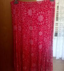 Duga crvena pamučna suknja plus size