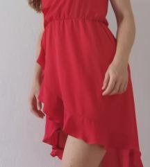 Crvena haljina asimetričnog kroja