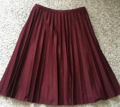 Bordo midi plisirana suknja vel M- L