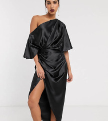 Asos crna satenska haljina s etiketom