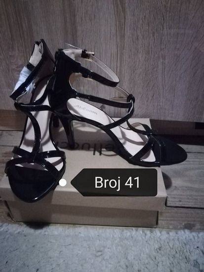 Crne lakirane sandale broj 41