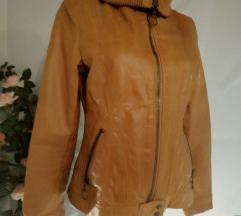 smeđa jakna, prava koža vel 38