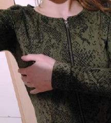 jakna na zip snakeskin zelena