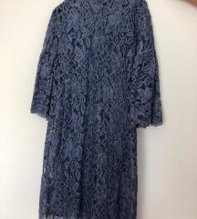 Reserved plava čipkasta haljina