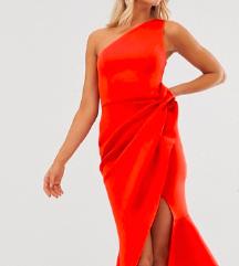 ASOS DESIGN one shoulder tuck detail midi dress