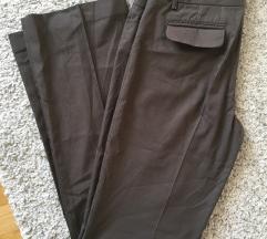 Esprit smeđe široke hlače na crtu vel 36