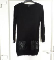 Duzi pulover majica s koznim dzepovima za XS-S