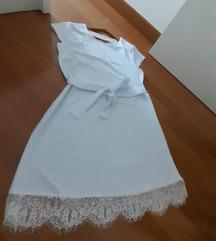 Bijela haljina s čipkastim porubom S/M