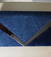 Plava šljokičasta svečana pismo torbica