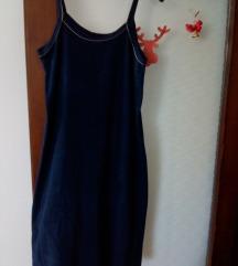 Tamno plava frotir haljina na bretele