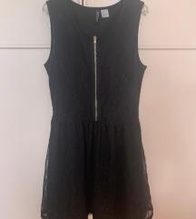čipkasta crna haljina sa zipom ciferšlusom