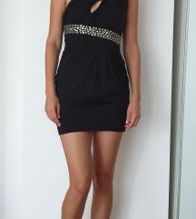 Crna haljina na jedno rame M