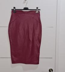 Nova bordo pencil kožna suknja