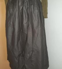 siva kožna suknja M