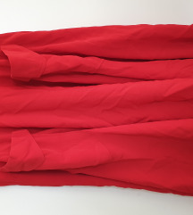 Crvena puni krug suknja s dzepovima