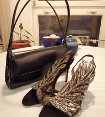 Crne sandale sa cirkonima i torbica