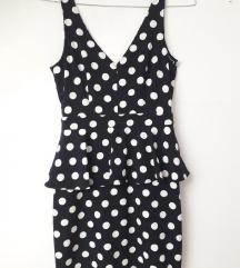Crno bijela peplum haljina na točkice HM novo 38 j