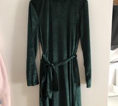 SHEIN zelena baršunasta haljina s pojasom