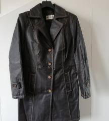 Tamnosmeđi ženski kaput od prave kože br L