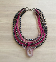 Ogrlica poludrago kamenje roza (Kamena duga)