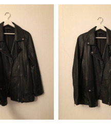 ZARA kožna jakna (prava koža, crna, veličine S)