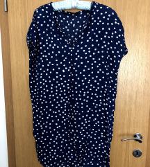 Zara plava točkasta lepršava haljina