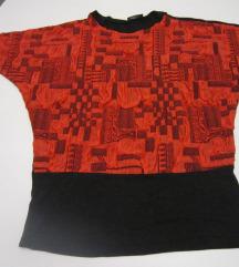 Interesantna crveno-crna majica šišmiš rukav